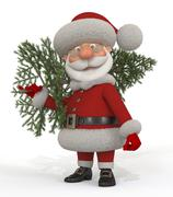 3d santa claus with a fir-tree - stock illustration