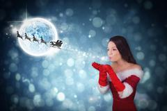 Composite image of pretty girl in santa outfit blowing Stock Illustration