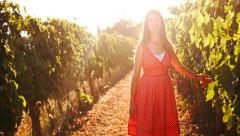 Summer Happiness Freedom Beauty Female Vintage Dress Walking Sunset Stock Footage