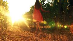 Pretty Barefoot Woman Walking Toward Sunset at Vineyard Freedom Salvation - stock footage