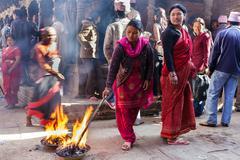 religious ritual in nepal - stock photo