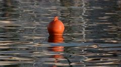 Red buoy marks the fairway. Stock Footage