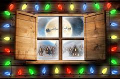 Composite image of decorative lights hanging in a shape Stock Illustration