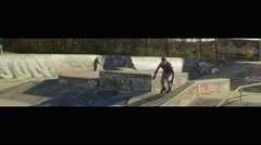 Skateboard Park Slow Motion Inline Skater Stunt 2 Stock Footage