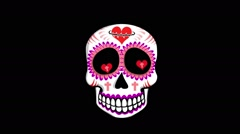 Mexican shaking skull with alpha Stock Footage