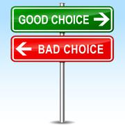 good and bad choice sign concept - stock illustration