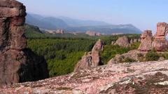 View of Belogradchik valley from Belogradchik rocks Stock Footage