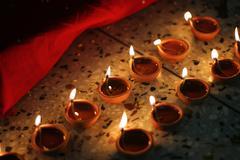 Stock Photo of oil lamps on diwali festival