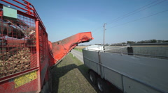 Combined harvester filling trailer with beets Stock Footage
