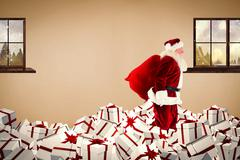 Composite image of santa walking on pile of gifts - stock illustration