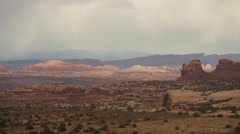 Wide panning shot of mountains with scenic view / Moab, Utah, United States Stock Footage