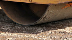 Road roller compaction works Stock Footage