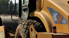 Road roller detail Stock Footage