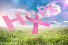 Stock Illustration of Composite image of breast cancer awareness message of hope