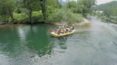 Rafting sport team come to the end of the race - stock footage