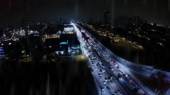 Aerial view from a Famous Avenue in Rush Hour in Sao Paulo, Brazil - stock footage