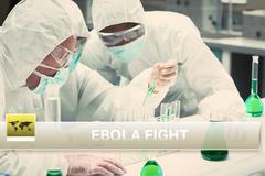 Ebola news flash with medical imagery Stock Illustration