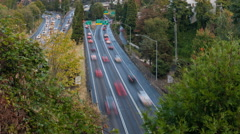 Timelapse Movie of Highway 26 Busy Traffic into Downtown Portland Oregon 1080p - stock footage