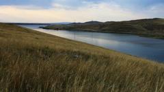 Autumn steppe lake Stock Footage