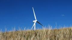 Wind turbine autumn steppe Stock Footage