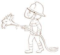 A plain sketch of a fireman holding a hose Stock Illustration