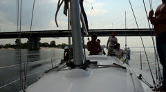 People on yacht. Sailing, yachting, outdoor activities, sport, click for HD Stock Footage