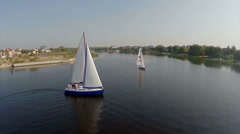 Sailing yachts on wide river, aerial view. Active rest, vacation, click for HD Stock Footage