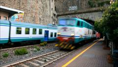 Train car transport, Riomaggiore Italy Stock Footage
