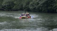 Rafting team on sport challenge - stock footage