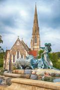 The gefion fountain in front of the st. alban's church in copenhagen. Stock Photos
