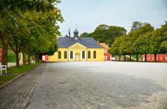 the church and adjacent prison in kastellet, copenhagen. - stock photo