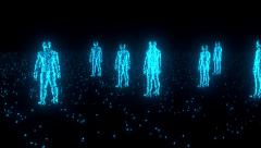 Binary people computer team glowing data 0 1 blue Stock Footage
