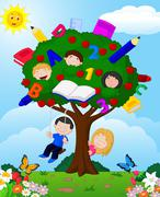 Cartoon children playing Illustration in an apple tree Stock Illustration