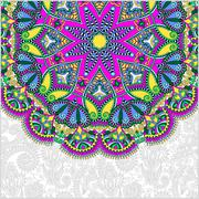 Stock Illustration of floral round pattern in ukrainian oriental ethnic style for your