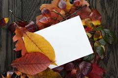 autumn leaves on old oak table with paper card - stock photo