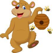 Cartoon bear holding bee Stock Illustration