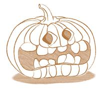 Stock Illustration of creepy halloween pumpkin with funny face