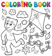 coloring book with boy and kite - illustration. - stock illustration
