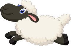 Cartoon sheep jumping - stock illustration