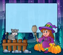 Mysterious forest halloween frame - illustration. Stock Illustration