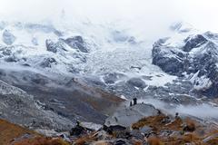 annapurna base camp, himalaya mountains, nepal - stock photo