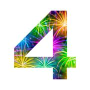 Number of colorful firework, four Stock Illustration