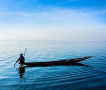 Burmese fisherman at Inle lake, Myanmar Stock Photos
