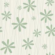 Retro floral background with camomiles - stock illustration