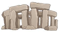 ancient stone monument theme - illustration. - stock illustration