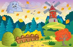 Autumn landscape windmill and cloud - illustration. Piirros