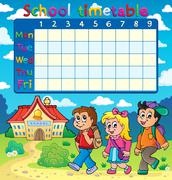 school timetable composition - illustration. - stock illustration
