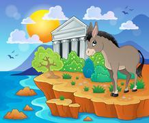 Cute donkey on shore - illustration. Piirros