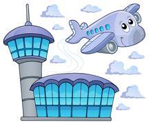 image with airplane theme - illustration. - stock illustration
