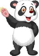 Cute panda cartoon waving hand Stock Illustration